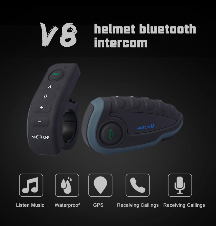 New Arrival 5-Way Waterproof IP65 Bluetooth Intercom for Helmet FM 1200m Talking Distance Motorcycle