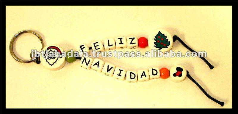 "Christmas Beaded Keychain, Christmas Phrases on Products, Christmas Spirit Products, ""Feliz Navidad"" Key Chain"