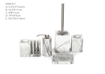 High rated luxurious handmade marble effect ceramic bathroom set