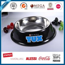 SS304 pet bowl for travel with color coating and rubber ring