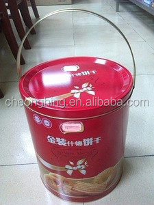 Big high round tin with one tin handle