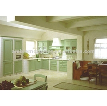 Classical Solid Wood Kitchen Cabinet With Light Green Color Fresh Paint
