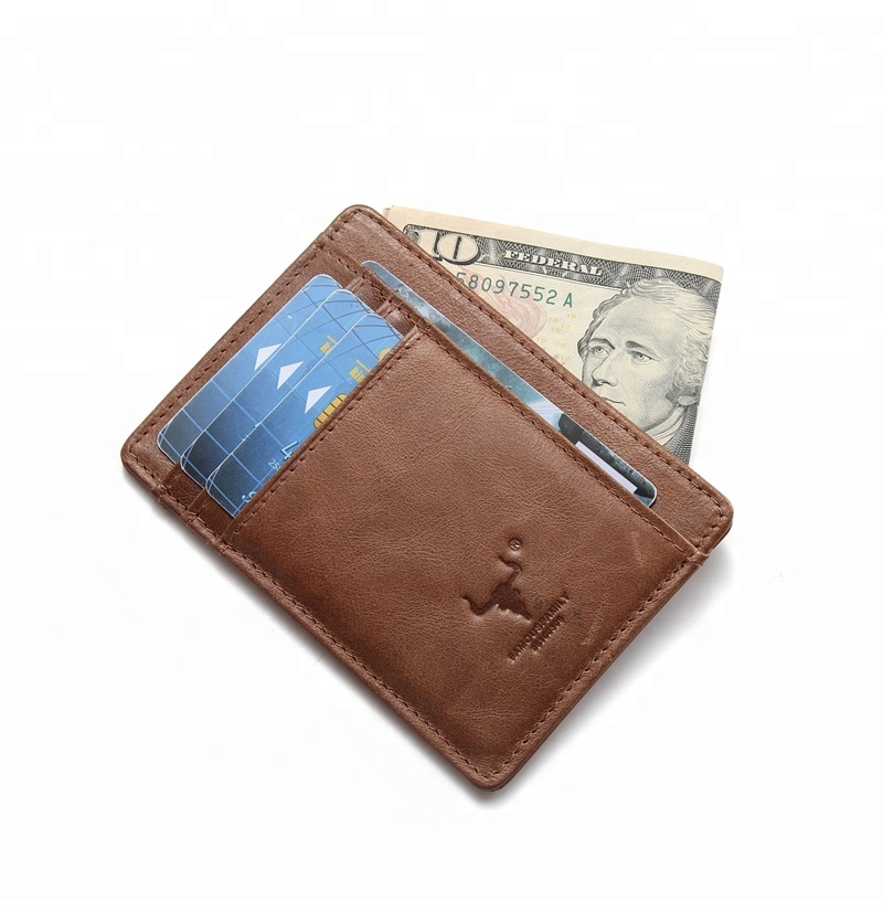 Mingclan RFID Blocking Real Italian leather card sleeves Front Pocket Minimalist Slim card <strong>Wallet</strong> for men women