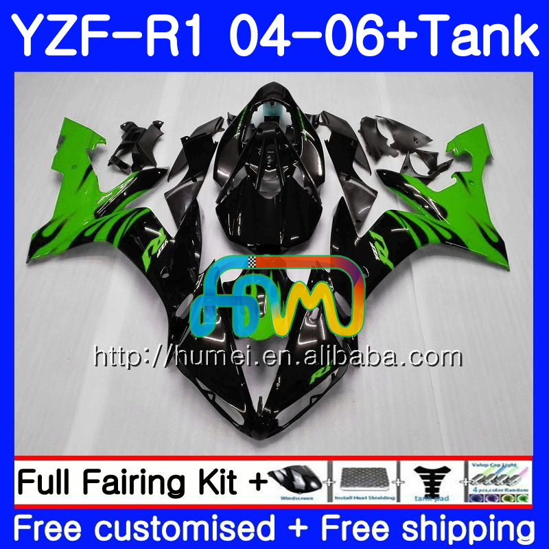 Body kit For YAMAHA YZF green flames 1000 R 1 YZF <strong>R1</strong> <strong>04</strong> 05 06 95HM48 YZF-1000 YZF-<strong>R1</strong> 2004 2005 2006 YZF1000 YZFR1 <strong>04</strong> 06 <strong>Fairing</strong>