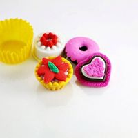 Classic Design Color Novelty Fruit Ice Cream Shaped Eraser Miniature People Toys