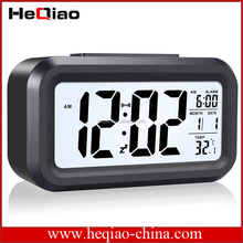 HeQiao LED Clock Slim Digital Alarm Clock Large Display Travel Alarm Clock with Calendar Battery Operated for Home Office -White