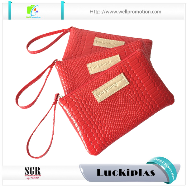 Passion red rectangle shape makeup pu cosmetic bag luxury cosmetic bag