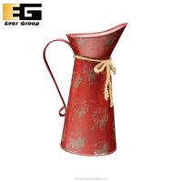Red Tall Metal Antique Vase For