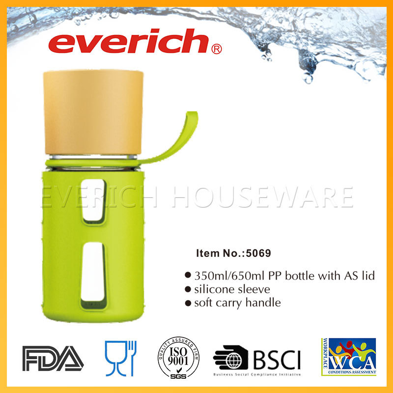 Soft carry handle silicone sleeve 350/650ml pp water bottle