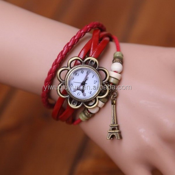 In Stock New Hot Sale Original High Quality Women Genuine Vintage leather bracelet 2014 Ladies Vogue Watches