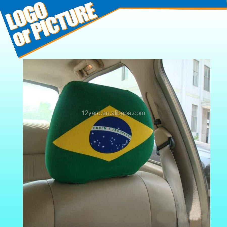 Whole team/club logo printed Brasil Football Fan Polyester Car seat cover/country flag printed headrest cover