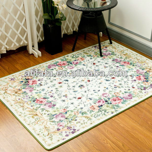 Digital floral print carpet