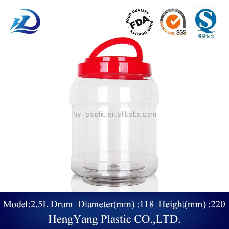 2.5L round plastic food jar salted vegetables container