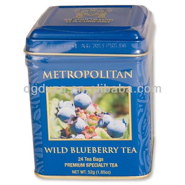 logo printed square tin can tea container