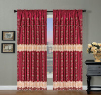 Latest design luxury curtain wholesale satin embroidery curtain with valance