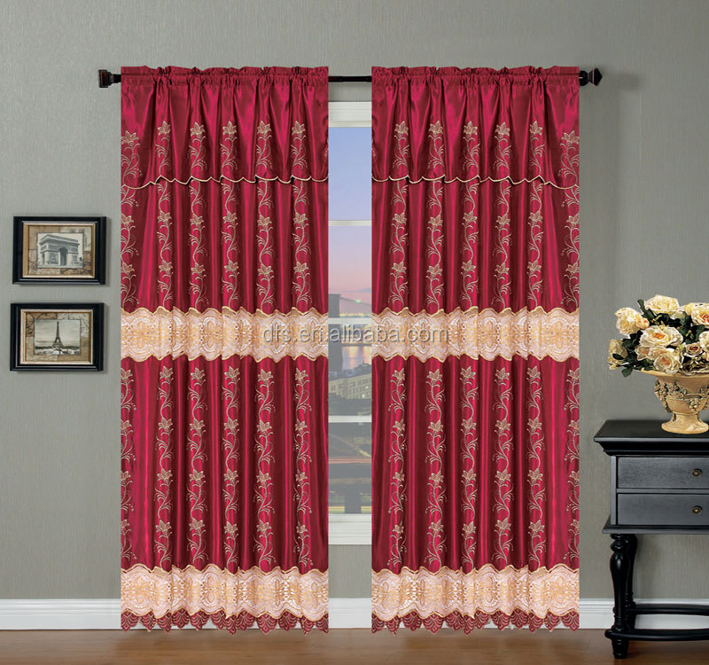 Latest design wholesale Water Dissolving Satin Embroidery Curtain with Valance