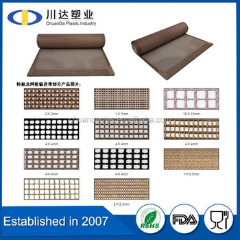 High density PTFE coated fiber glass mesh conveyor belt