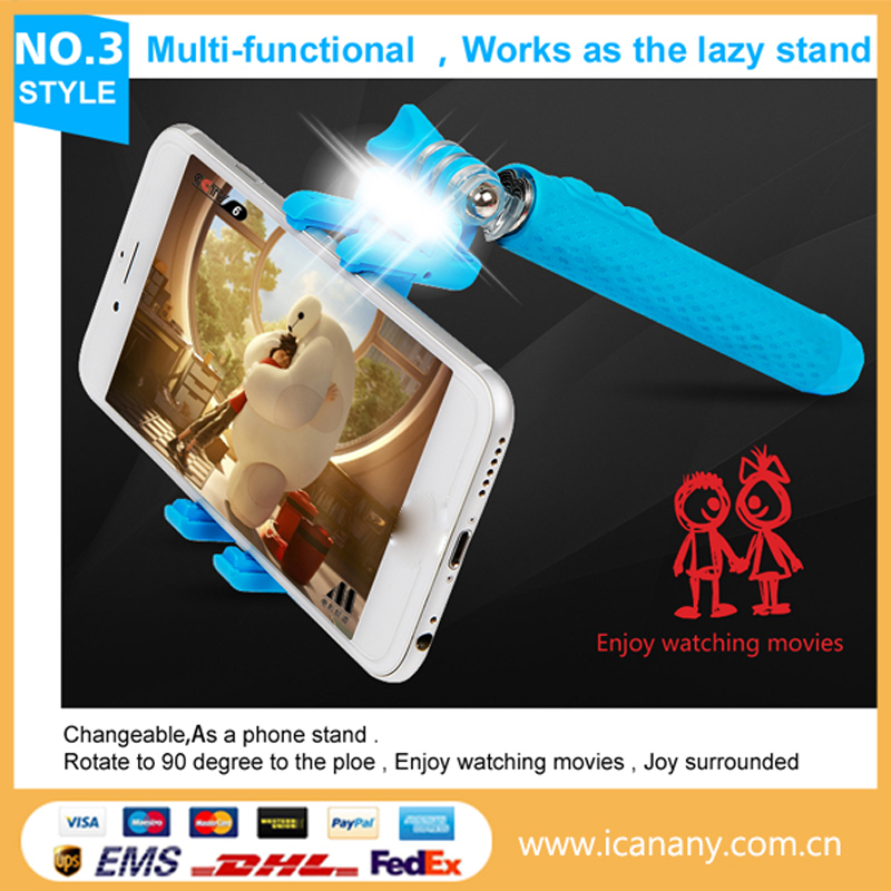 2015 New Products High Quality Cable Take Pole LED Night Shot Flexible Tripod Mini Selfie Stick With Cable
