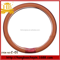 GZ car accessories brown color sheepskin leather car steering wheel cover