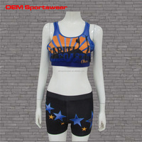 Printed own logo ladies cheerleading uniforms free shipping