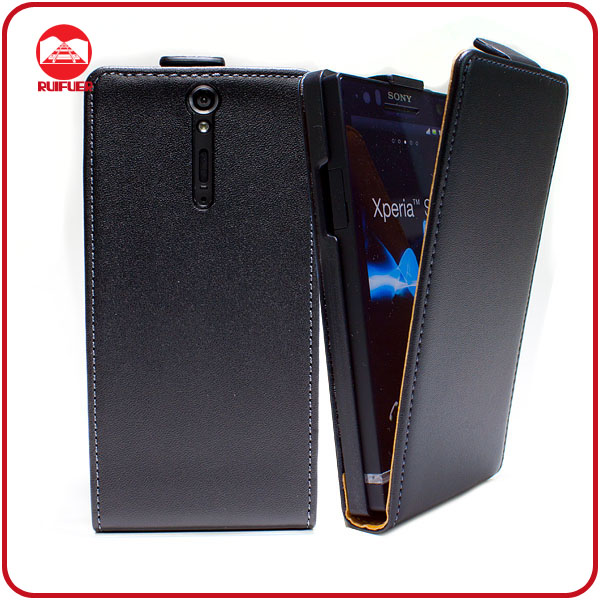 Factory Wholesale Ultra Slim Fit Vertical Flip Leather Mobile Phone Case for Sony Xperia S Lt26i
