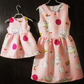 Wholesale cute animal pattern sleeveless mother and daughter matching dresses