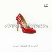 OP23 thin heel rivet detial court dress shoes, party shoes red