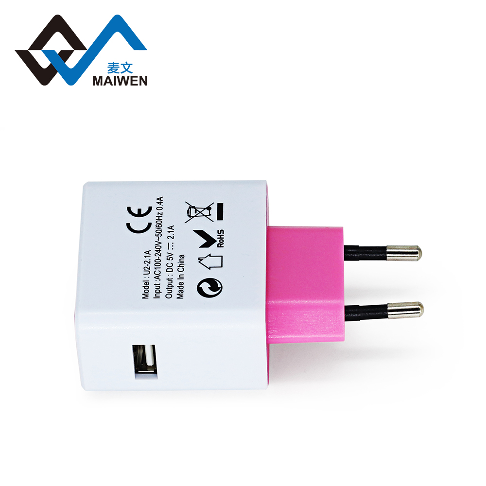 Wholesale fast charging mobile phone EU travel plug usb charger DC 5V 2.1A