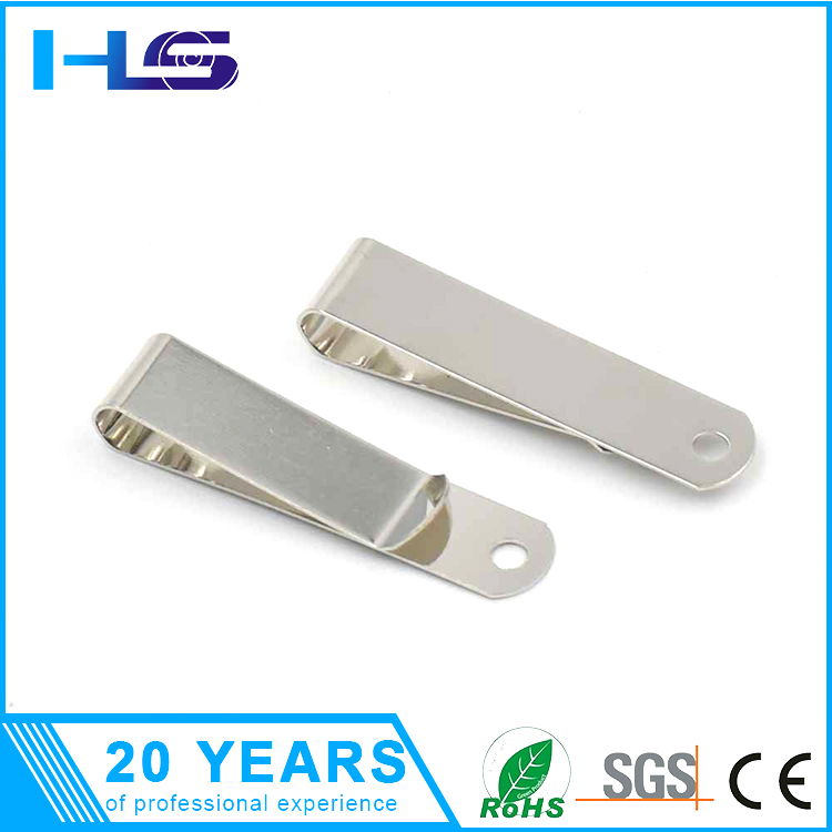 High strength stainless steel metal flat wire spring, white zinc plating belt clip spring
