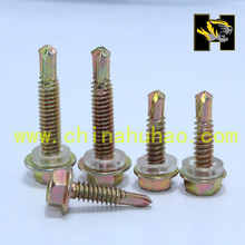 Factory Direct good quality yellow zinc six angle hex flange drill end screws with white washer