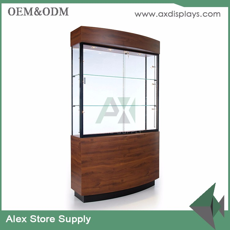2017 newest design 10mm tempered glass used jewelry showcase/jewelry display cabinet