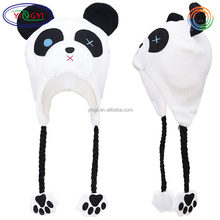 F477 Adult's Fun Animal Knitted Winter Beanie Hat Cap with Ear Flaps Panda Animal Hats with Paws