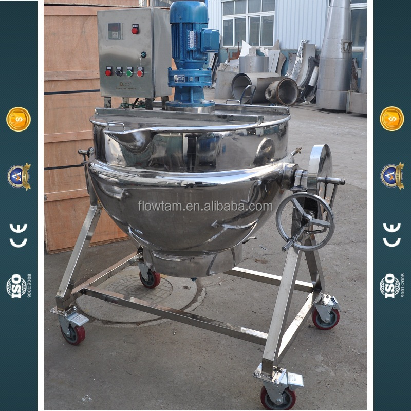 Stainless steel tilting commercial jacketed cooking kettle,industrial steam cooking pot