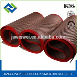 4*4mm mesh size brown color Teflon coated fiberglass conveyor belts for oven