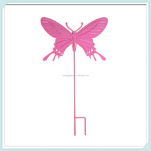 Flying butterfly silhouette Metal yard art wrought iron garden stake