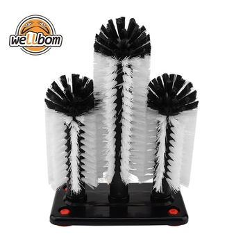 Glass Washer Brush, Set of 3 Cleaning Brush Water Bottle Cleaner Washer Tool with Suction Base for Water Cup Bar Tool