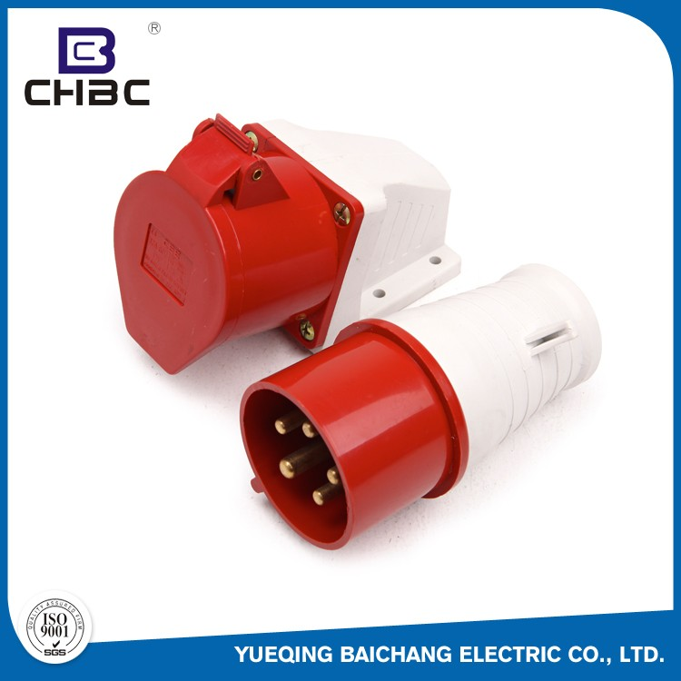 CHBC 16A 32A 63A 125A 5 Pin Red Colour IP67 Watertight Industrial Plug And Socket