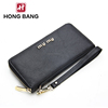 New popular fashion simple design black color Lady's Clutch Long Purse Leather Wallet