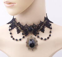 Europe Retro Royal Court Lolita Princess Lace Collar Fabric Chokers Black Crystal Beads Chain Charm Tassels Necklace Choker