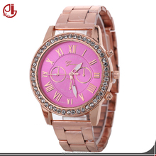 2017 New Fashion Faux Chronograph Plated Classic Ladies Stainless Steel Back Quartz Watch