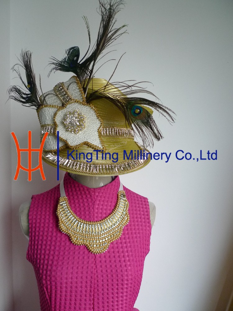 New Fashion Women Satin Ribbon Church Hats with Necklace