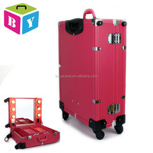large capacity pink PU salon lighted cosmetic makeup storage train case with lights wheels