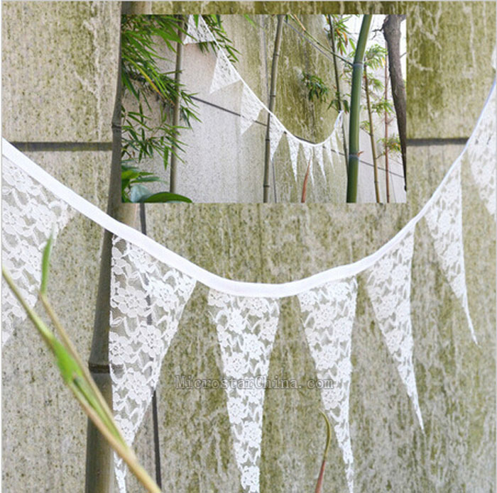 2.9M White Lace Wedding Hessian Bunting Burlap Banner Rustic Party House Decor