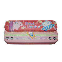 Tinplate two layers pencil case with ruler compartment