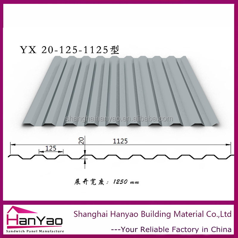 Shanghai Hanyao High Quality YX20-125-1125 Anti-corrosion Color Steel Roof Tile Metal Plain Roofing for Factory/House