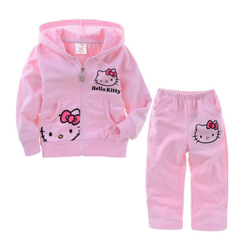 Retail 2015 Hello Kitty Girls Clothing Sets Baby Kids Clothes Children Clothing Full Sleeve Girl Coat Pants 2pc Set