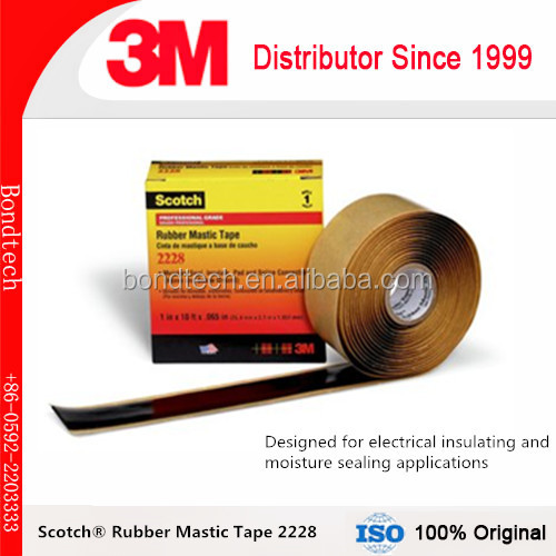 Self fusing Scotch 2228 Rubber Mastic Tape for electrical insulating and moisture sealing