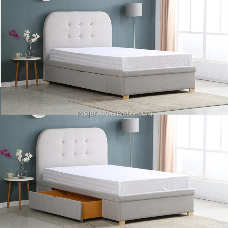 New Arrival Modern Upholstered Single Twin Bed With Drawer Storage Y