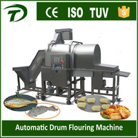 chicken nugget ball starching tonkatsu drum flouring coating machine