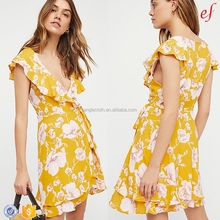 New Arrive Summer Floral Printed Women V-neckline Ruffle Wrap Dress